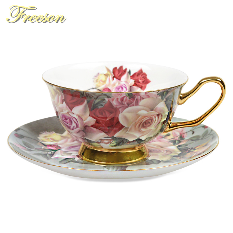 British Vintage Rose Bone China Tea Cup Saucer Spoon Set 200 ml Taza - Cocina, comedor y bar