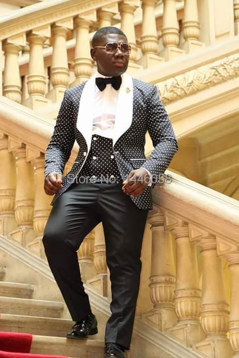 2018 Costume Homme Fashion Black White Lapel Men Dots Wedding Suit Tuxedo Groom Wedding Party Suits For Men Bridegroom Groomsmen