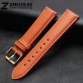 Watch strap 18mm 20mm 22mm Orange Genuine Leather Watch band deployant strap