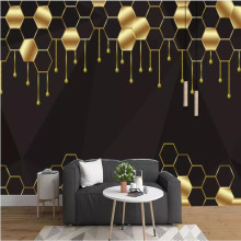 Nordic minimalistic abstract gilt lines geometric hexagon background wall