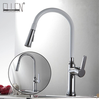 Kitchen Faucet Pull Out Hot And Cold Kitchen Mixer Copper Kitchen Sink White Color Chrome Finish