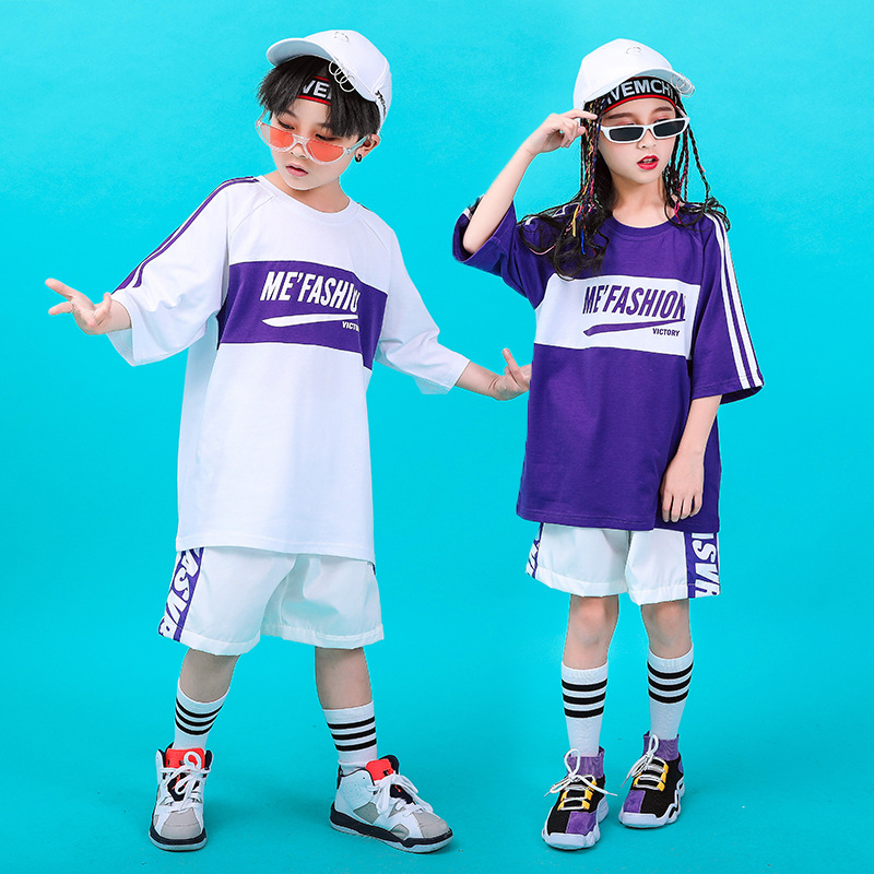 Popular Kids Dance Costume Loose Hiphop Practice Wear Street Dance Rave Outfit Jazz Performance Clothing Sport Clothes DC2211