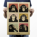 DCTOP Ретро Дизайн Плаката Смешные Выражения Орангутанг Наклейки На Стены Украшения Плакат Крафт-Бумаги Creative Home Decor Наклейки