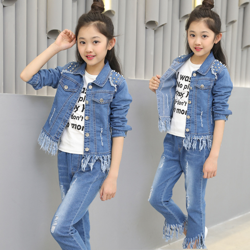 Spring Fashion Girls Clothing Sets Children Sportswear Suits Kids Denim Sets Rivet Coat+Jeans Pants Casual Outerwear with Tassel