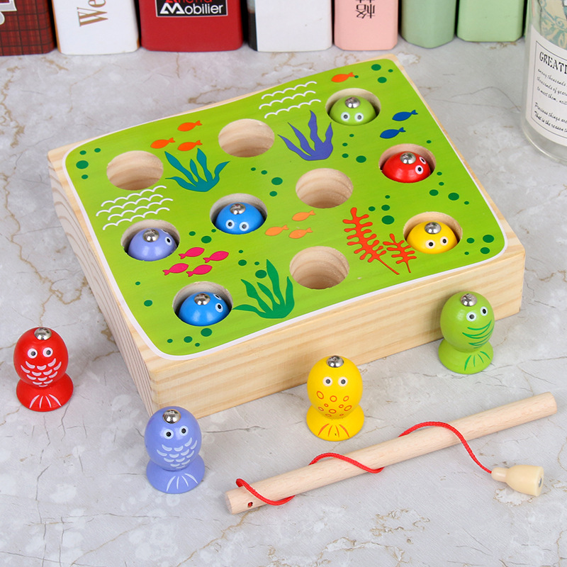 Solid wood children 3D stereo fishing toy pool set boys and girls kitten fishing magnetic game toys for baby gifts