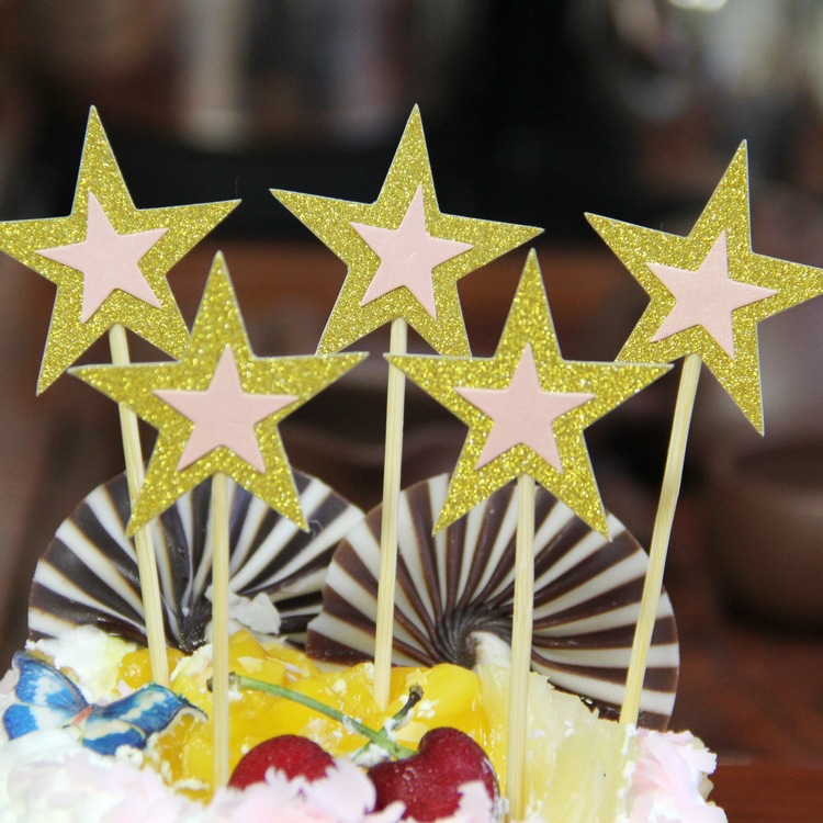 5pcs/lot Stars Birthday Wedding Cake Topper Cupcake Flags Birthday Party Cake Baking Decor Baby shower Cake Flags Multi Colors