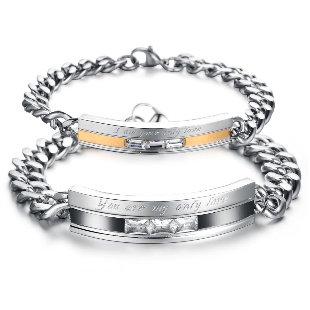 Top Grade Stainless Steel Crystal Couple Bracelet 3