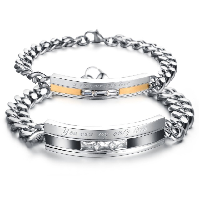Top Grade Stainless Steel Crystal Couple Bracelet 3