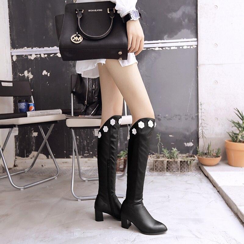 Mujeres Botas Gris Mujer 1 Dedo Invierno Tacones Cuadrados 34 La Plus Zapatos 3 Negro Pie Tamaño 2 Blanco Del Rodilla Redondo 43 De IxtHFq