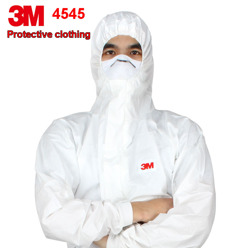 3M 4545 Protective CE: 521589/1 Coverall  Hooded Protective Elastic Waist Clothing Against Dry Particles/Chemical Splash Type Pr