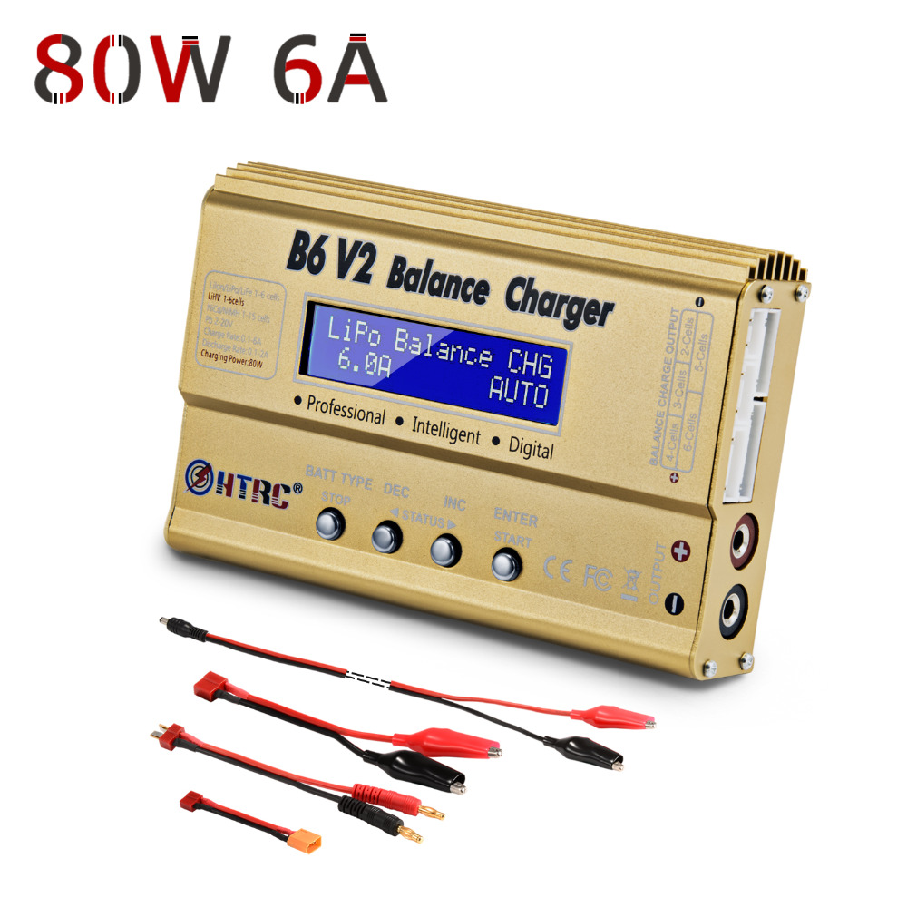 LiPo Battery Charger Balance Discharger HTRC B6V2 80W 6A 1-6S DC11-18V for Li-ion LiFe NiCd NiMH LiHV PB Smart Battery skyrc d100 charger twin channel ac dc lipo 1 6s 2x100w dual balance charger discharger lipo life li ion nimh pb battery