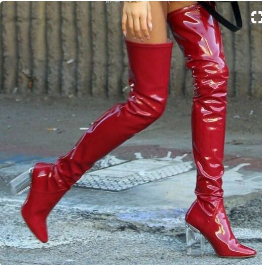 Femme Bottes Women Patent Leather Thigh High Boots Perspex