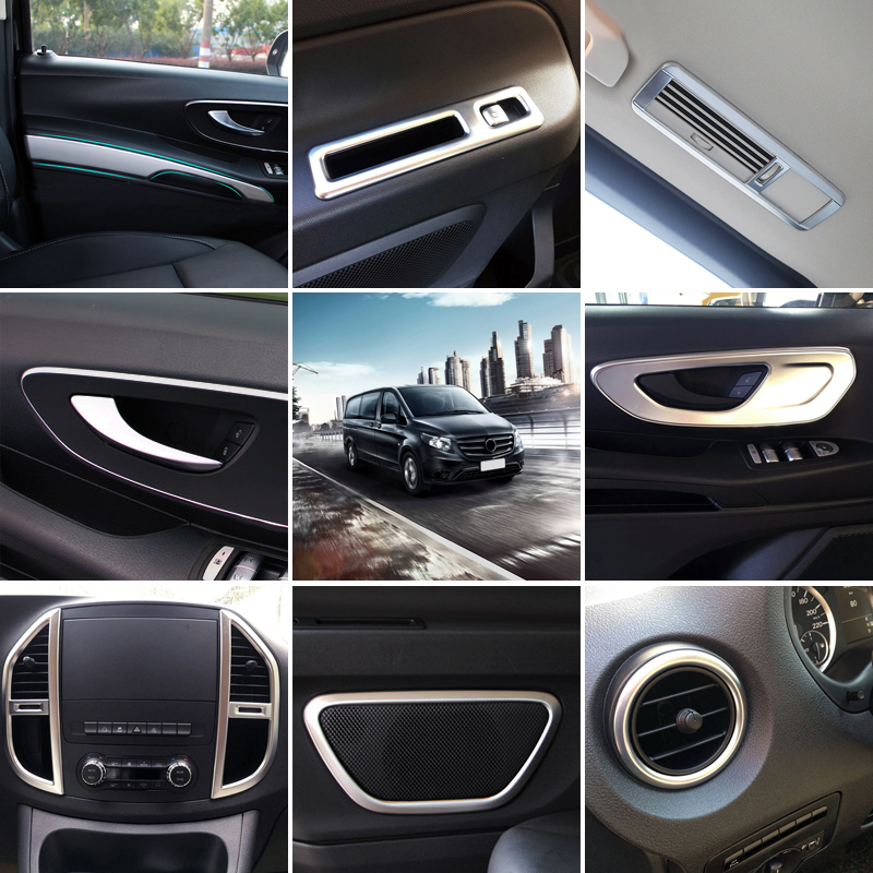 (Only Fits Left Hand Drive) Interior Accessories Cover Trim Decoration Full Kit 22pcs ABS Matte For Mercedes Benz Vito 2014 2018