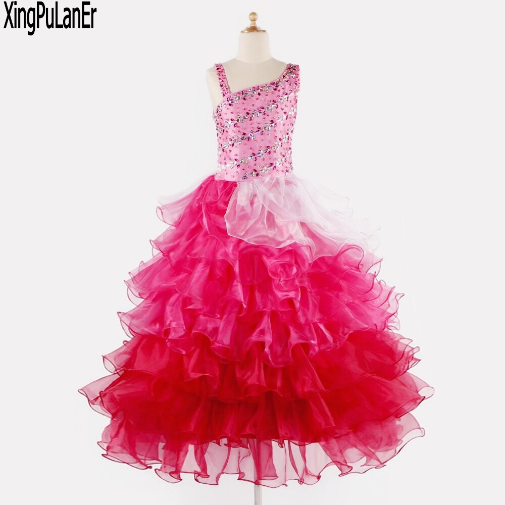 Ball Gown Straight Neckline Ruffles Organza Beaded Crystals Top ...