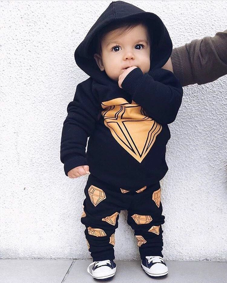 Newborn Infant Baby Boy Clothes Long sleeves Hooded Top + Pants Outfits Set 2pcs suit black baby boy clothes newborn