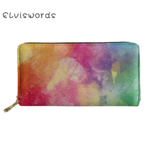 ELVISWORDS Wallets&Purse Women Colorful Printing Cash Wallet Ladies Luxury Design Phone Holders for Females Clutch Money Bag