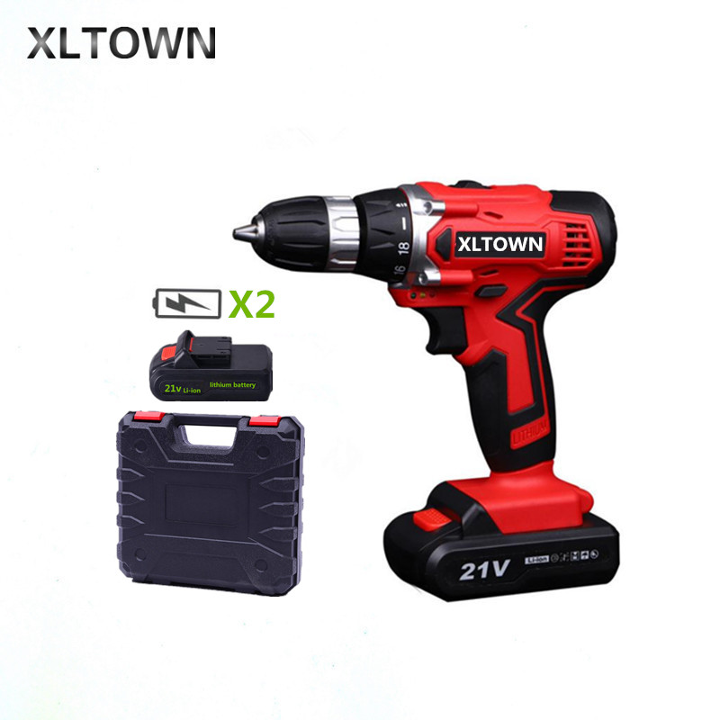 XLTOWN New 21v electric screwdriver with 2 battery rechargeable lithium battery electric screwdriver cordless drill Power tools a christmas carol and other christmas writings