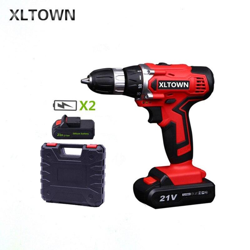 XLTOWN Nouveau 21 v électrique tournevis avec 2 batterie rechargeable au lithium batterie électrique tournevis perceuse sans fil outils Électriques