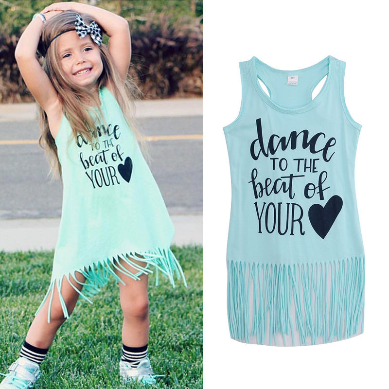 2020 New Hot Sale Toddler Kids Baby Girl Summer Clothes Sleeveless Tassel Mini Dresses Letter Dance Print Summer Clothes