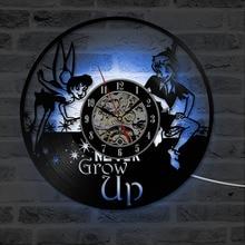 Peter Pan Wendy Tinkerbell Island Vinyl Record Clock Cartoon Theme Hanging Wall Clock