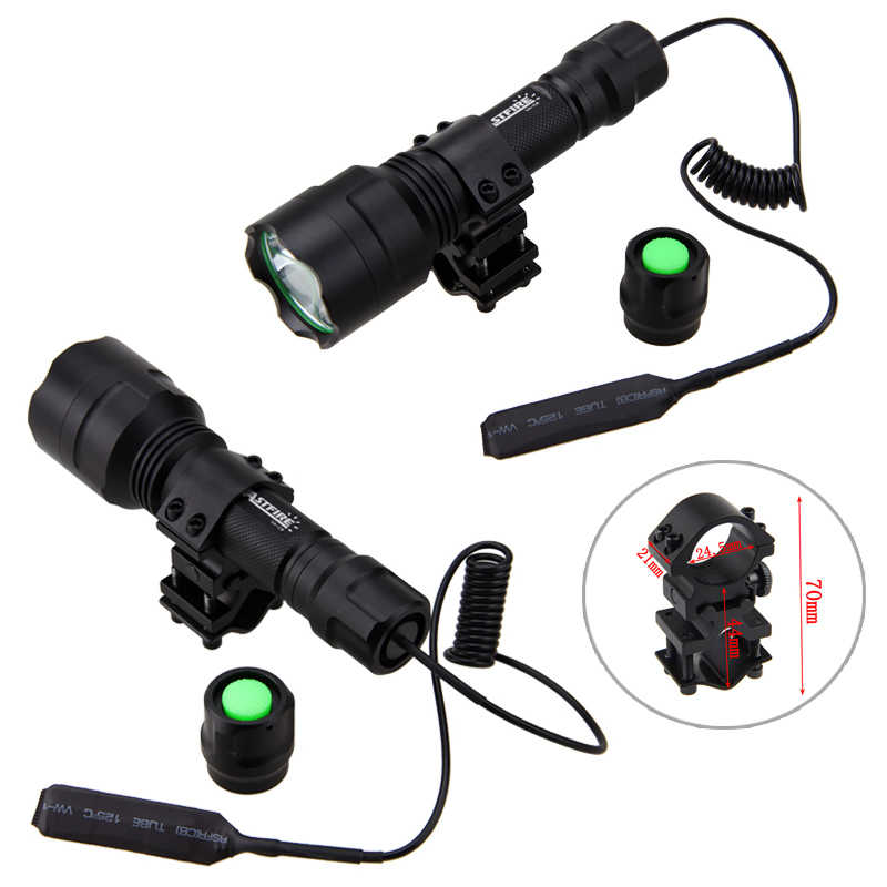 التكتيكية إضاءة صيد 2500lm T6 مصباح ليد جيب الأخضر/الأحمر/الأبيض الشعلة نطاق جبل مفتاح ضغط 18650 بطارية شاحن