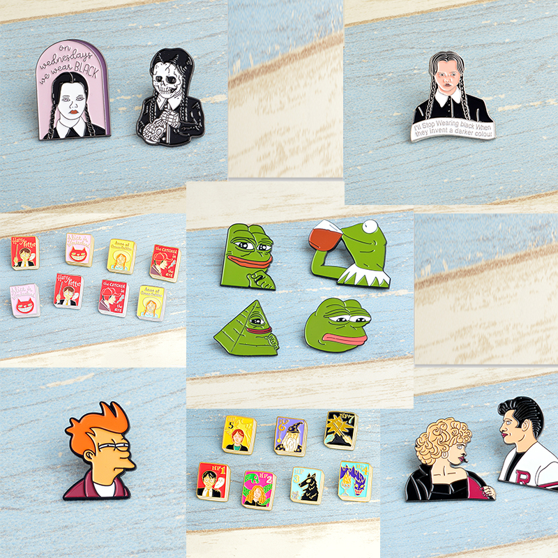 Movie TV characters Harri potter pin Philip J. Fry Sandy and Danny Pink ladies Sad Frog Gothic dark pin jewelry for Holiday gift ...