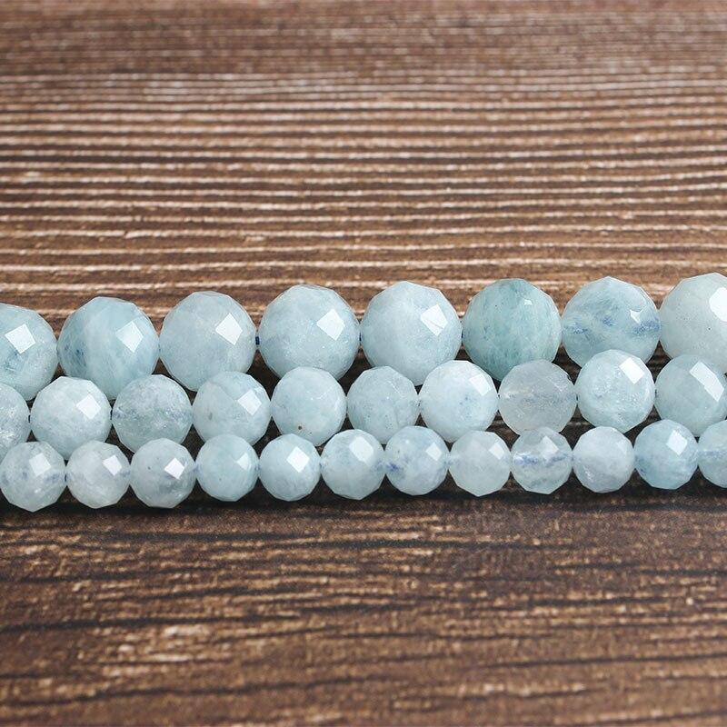 295f757c7521 LanLi natural 6/8/10mm de nivel superior aguamarinas suelta perlas de  hombres y mujeres pulsera ...