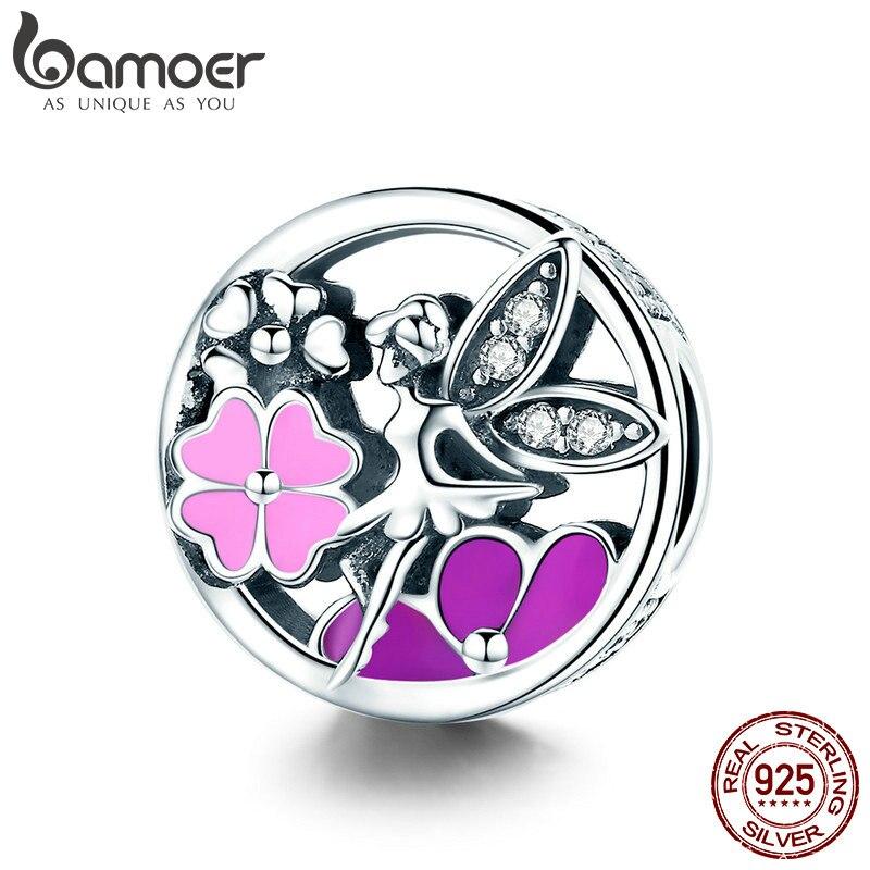 BAMOER de moda nueva plata de ley 925 jardín Hada de La Flor Rosa esmalte claro CZ Beads fit pulsera del encanto collares joyería de SCC823