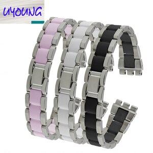Сменные ремешки для часов, из нержавеющей стали высокого качества + керамики, Ширина 17 мм