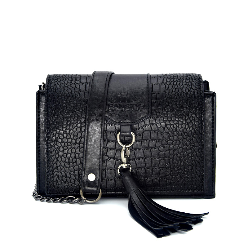New 2017 Tassel Women Crossbody Bag Famous Brand Crocodile Pattern Flap European Ladies Shoulder Messenger Bag Fashion Small Bag