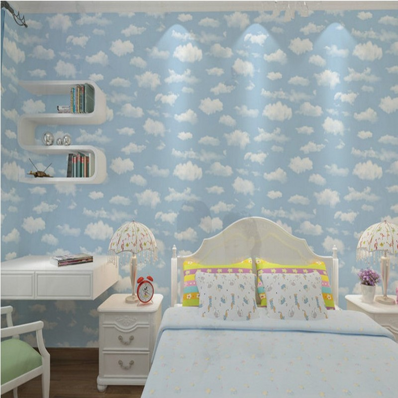 Free Shipping Blue Sky White Clouds Wallpaper Ceiling Cartoon Wallpaper Children room Background Wallpaper children room blue sky ceiling wallpaper white clouds wallpaper for kids bedroom blue sky and white clouds wallpaper paper roll