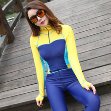 2017  Full Body Color Contrast One-piece Jump Suit Lycra Scuba Diving Skin Hood Bra Pink Blue Yellow Blue Blocking for Women