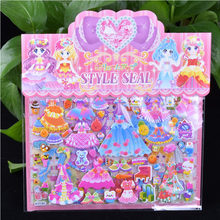 Diy dupla camada bonito princesa vestir-se etiqueta para diário telefone portátil livro crianças anime kawaii adesivos brinquedos para meninas