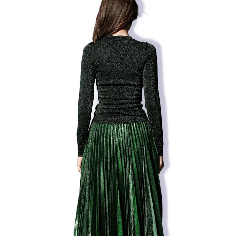 Survêtements Costumes Élégant Tricoté Femmes Printemps Vert American Twin Jupe European Plissée Design 2018 Automne Blouse set Mince De qTUSRwf