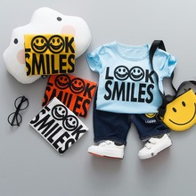 hot deal buy zwxlhh2019 summer baby boys clothing sets children toddler clothes suit smiley face t shirt shorts suit infant kids shorts suit