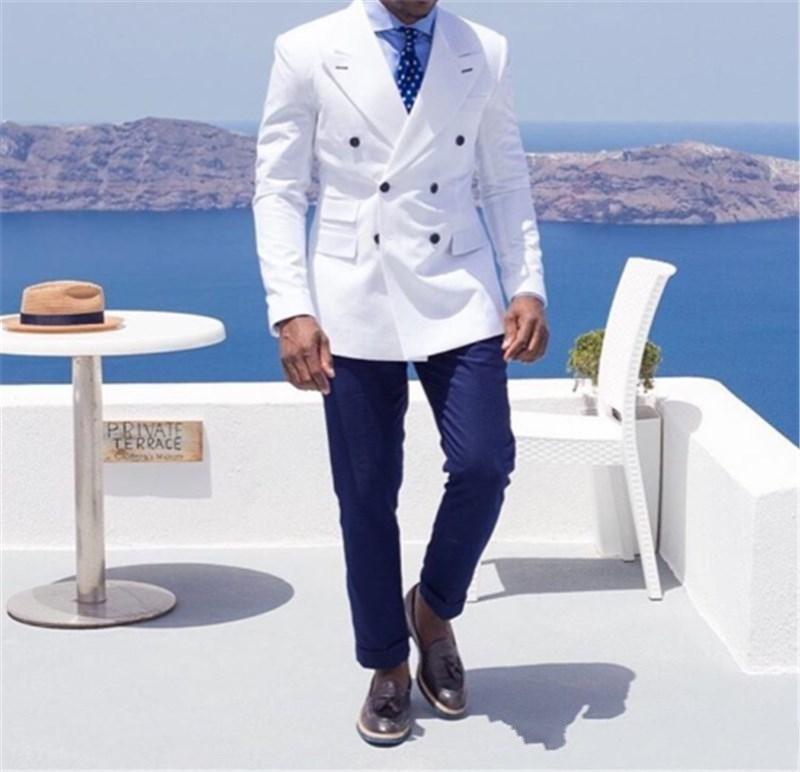 Custom Double-Breasted Groomsmen Peak Lapel Groom Tuxedos Groomsmen Best Man Suit Mens Wedding Suits Bridegroom (Jacket+Pants)(China)
