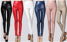 Fashion Women's PU Leather Pant Stretchy Pencil Pant for Winter High Quality plus size legging S-XXL skintight leather trousers