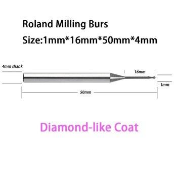 1..0mm Roland D30 D50 51D CADCAM Machine Milling Tool Burs Diamond-like Coat