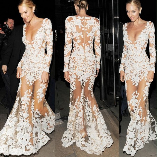 2017 Trend White New Prom Evening Dress Mermaid Mesh V Neck Sexy Sheer See-Through  Lace Formal Party Gowns Long Sleeve Vestidos ab57e64f72ab