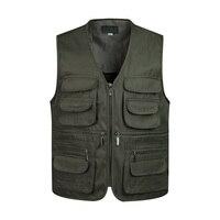 Новый Для мужчин multi-карман классический жилет мужской рукавов разгрузки одноцветное пальто работы жилет фотограф Тактический Masculino куртка