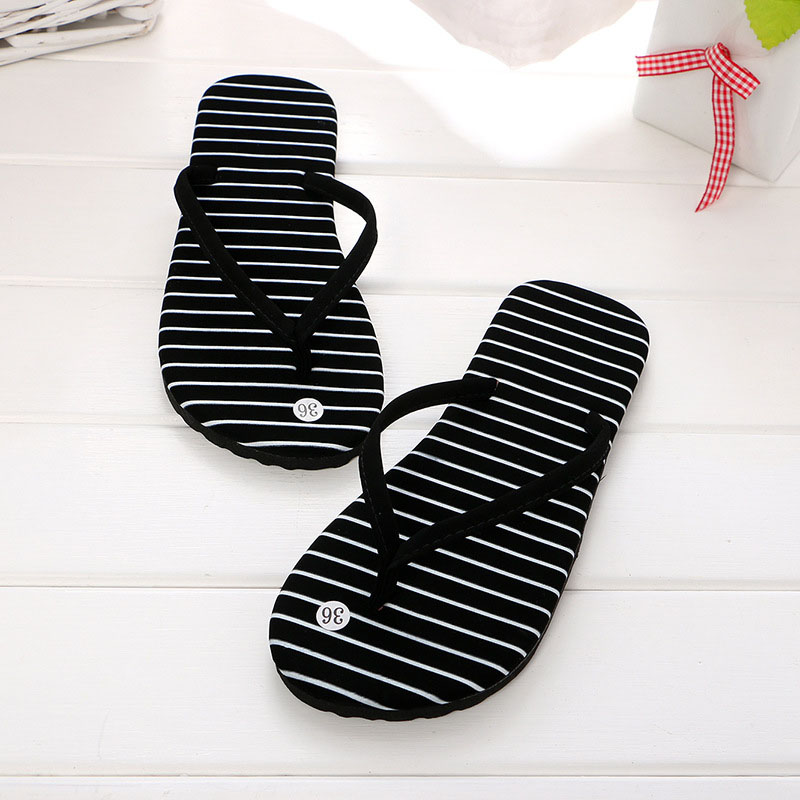 2018 Summer Women Outdoor Flip Flops Fashion Woman Beach Non-slip Slippers Ladies Casual Flat Heel Striped Shoes zapatos mujer 2018 bow knot summer shoes woman indoor outdoor flip flops women sandals ladies flat slippers zapatos mujer sapatos femininos