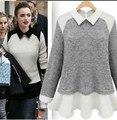 2015 Top moda de invierno suéter mujeres del resorte Circleof mujeres dan vuelta abajo suéter remiendo de la gasa floja para mujer Pullover