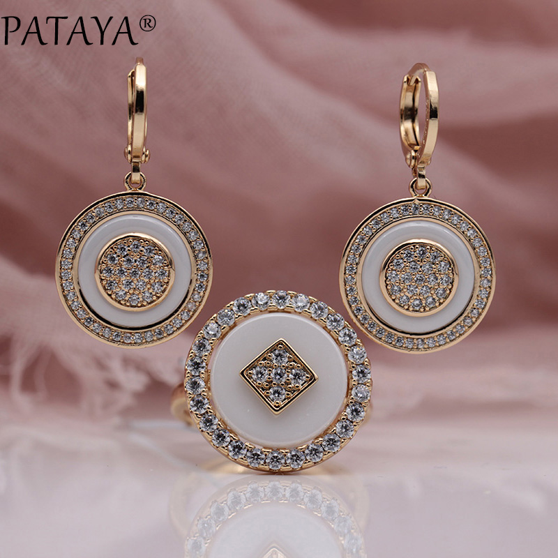 PATAYA New Arrivals 585 Rose Gold Natural Zircon Long White Ceramic Dangle Earrings Rings Sets Women Wedding Luxury Jewelry Set yoursfs dangle earrings with long chain austria crystal jewelry gift 18k rose gold plated