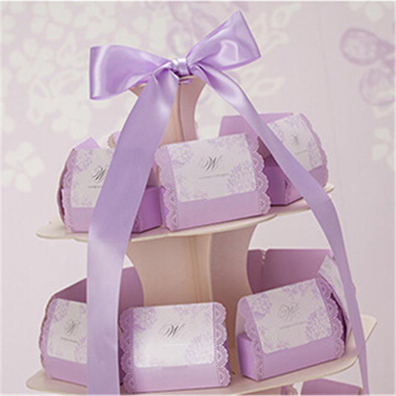 Hot Sale Casamento 100pcslot Purple Wedding Candy Boxbombonera