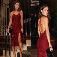 2019 Sexy Burgundy Lace Homecoming Dresses With Spaghetti Straps Tea Length Cocktail Dresses