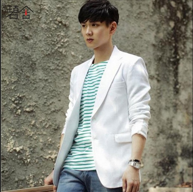 66a1bba9b64e 2019 корейские летние мужские Тонкий белый льняной костюм тонкий маленький