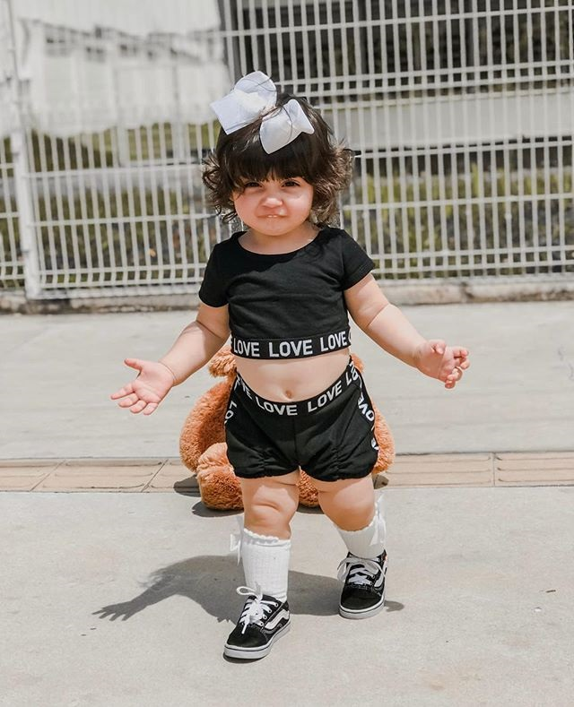 Girls Crop Top T shirt Shorts Love Outfit Kids Summer Clothes Set Age 1-7 Years