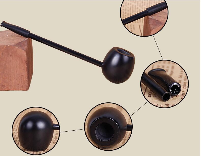20pcs/lot black wood tobacco pipe classic straight pole Popeye type ebony smoking pipes wooden herb cigarette holder mouth tip