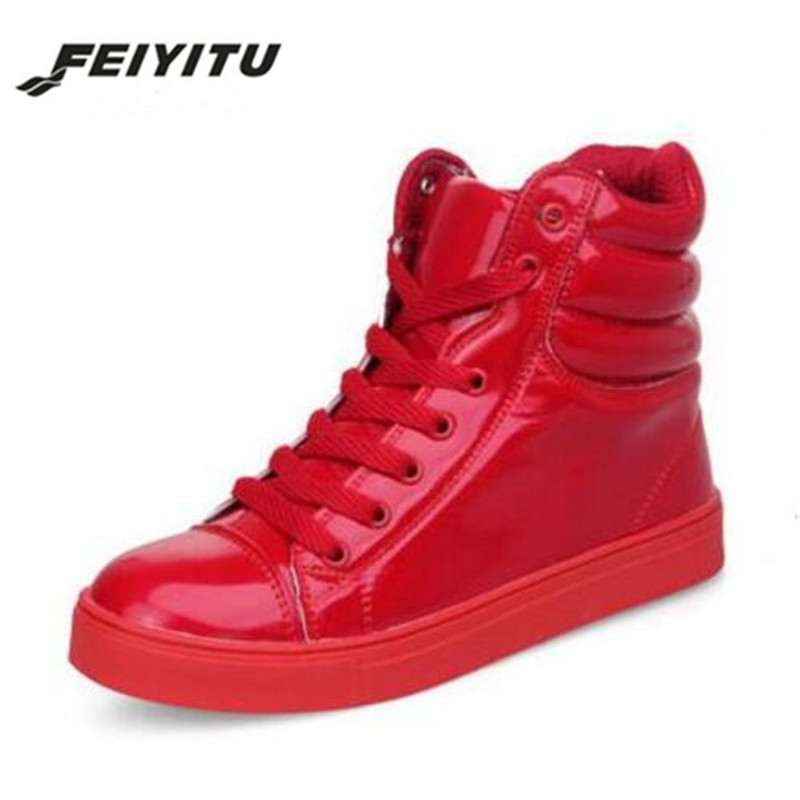 Feiyitu Spring Autumn High Top Boots Fashion Lace-up Women Shoes Casual Platform Woman ankle Boots Student Shoes Black white red