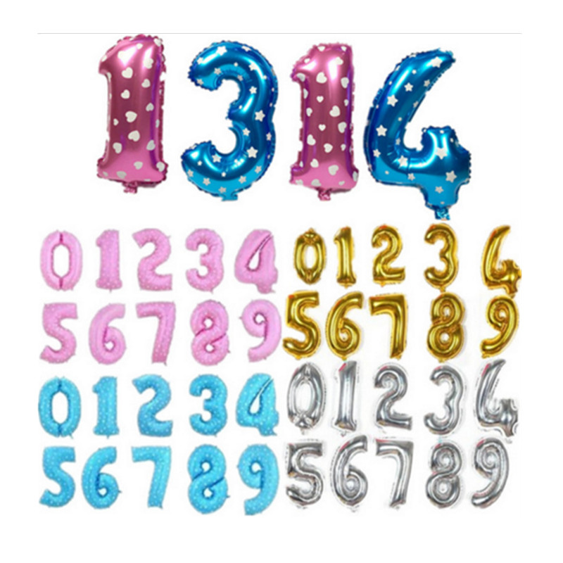 10PCS  0-9  Hot 16 inch aluminum gold and Silver Blue Pink Birthday Balloon Deco